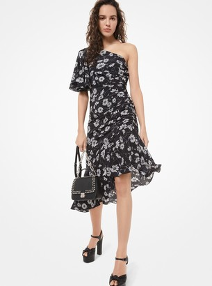 Michael Kors Daisy Silk Crepe De Chine Ruched Asymmetric Dress