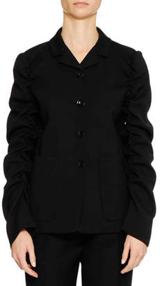 Jil Sander Four-Button Shirred-Sleeves Wool Jacket