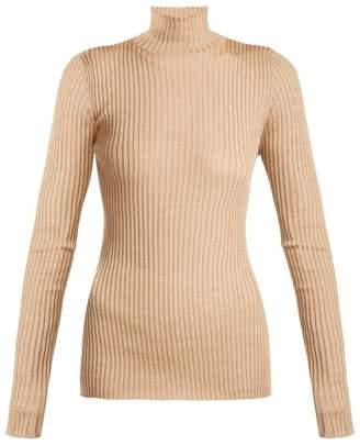Jil Sander Silk And Wool Blend Roll Neck Sweater - Womens - Light Brown
