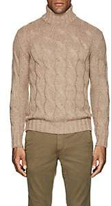 Barneys New York Men's Cable-Knit Wool-Mohair Turtleneck Sweater-Beige, Tan