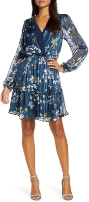 Adelyn Rae Adelyn Raie Elaine Floral Print Long Sleeve Chiffon Dress