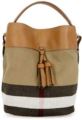 Burberry Asby Canvas Check Hobo Handbag