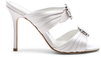 Manolo Blahnik Satin Pow 105 Sandals in White | FWRD
