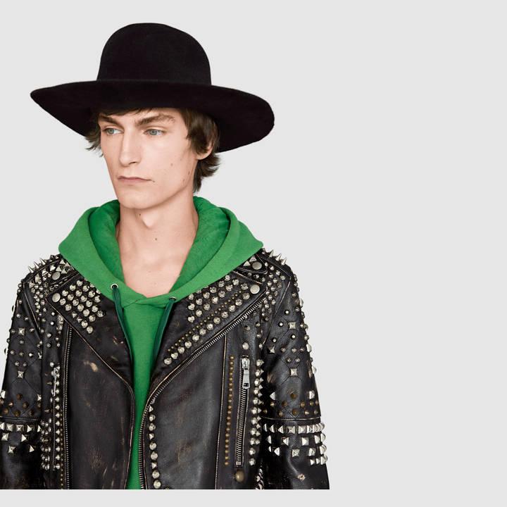 Studded leather biker jacket 5