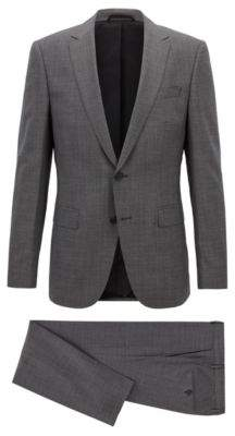 BOSS Hugo Slim-fit travel suit in micro-patterned virgin wool 36R Open Grey