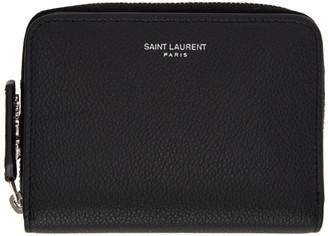 Saint Laurent Black Compact Zip Around Wallet