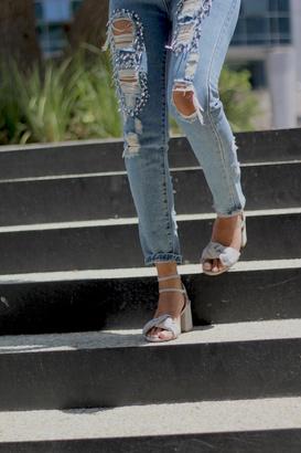 Bronx Grey Suede Sandals $277 thestylecure.com
