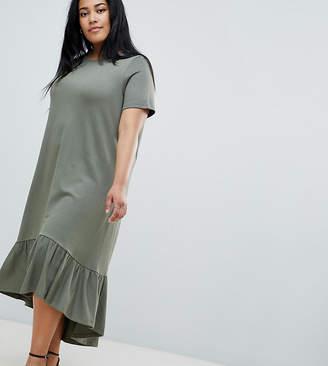 Asos Design Curve Midi T-Shirt Dress With Drop Hem
