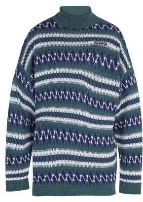 Balenciaga - Oversized Fair Isle Roll Neck Sweater - Mens - Blue Multi