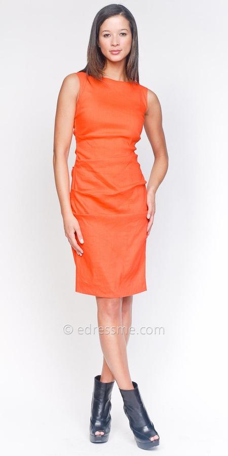 Boatneck Tangerine Day Dresses by Nicole Miller