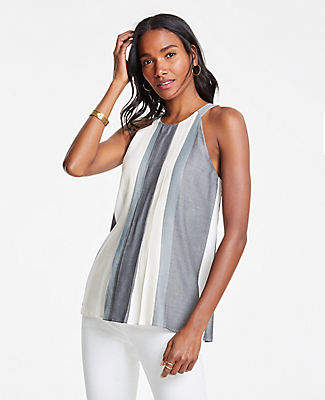 Ann Taylor Striped Pleated Halter Shell