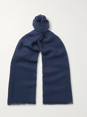 Loro Piana Fringed Cashmere and Silk-Blend Scarf - Men - Blue
