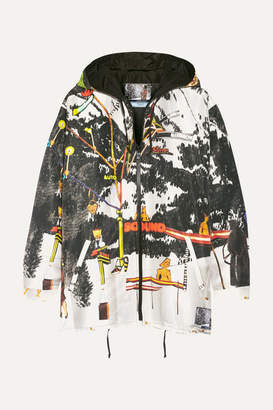 Prada Printed Silk-faille Hooded Jacket - White
