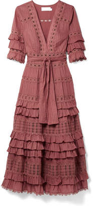Zimmermann Corsair Tiered Broderie Anglaise Cotton Midi Dress - Antique rose