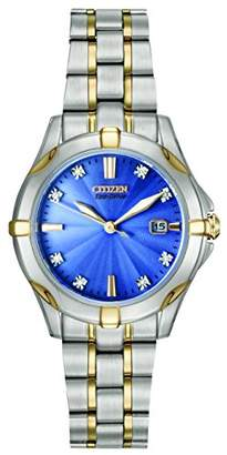 Citizen Watch Silhouette Diamond Women's Quartz Watch with Blue Dial Analogue Display and Two Tone Stainless Steel Bracelet EW1936-53L