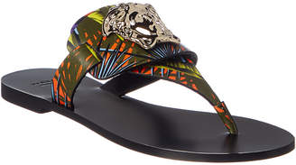 Versace Medusa Palazzo Leather Thong Sandal
