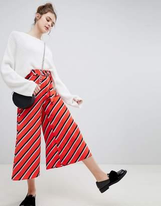 Bershka Wide Leg Diagonal Stripe Pant In Red