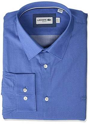 Lacoste Men's L/S Printed POPLIN French Colar Slim FIT City Woven Shirt
