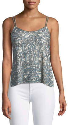 Haute Hippie Soleil Embellished Side-Button Cami Top