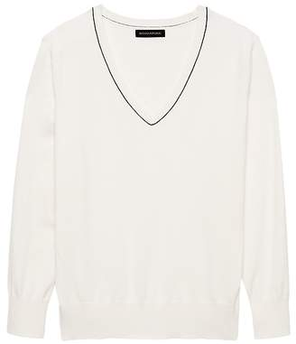 Banana Republic Stretch-Cotton V-Neck Sweater
