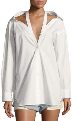 Alexander Wang Long-Sleeve Cotton Poplin Oversized Shirt with Neck Tape Detail