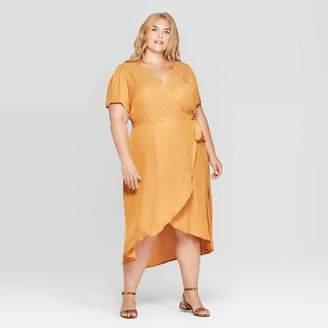 Ava & Viv Women's Plus Size Animal Jacquard Short Sleeve V-Neck Wrap Midi Dress