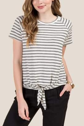 francesca's Ellie Textured Stripe Tie Front Top - Ivory