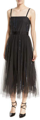Brunello Cucinelli Paillette-Embroidered Dress w/ Tulle Skirt