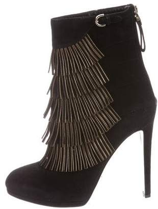 Sergio Rossi Suede Fringe-Accented Ankle Boots