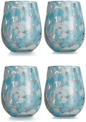 Jay Import Aqua Splash Stemless Glass - Set of 4