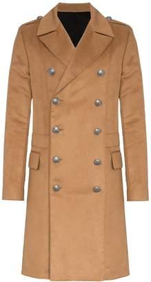 Balmain double breasted camel coat
