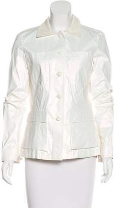 Giorgio Armani Leather-Trimmed Iridescent Jacket