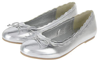 Accessorize Silver Scalloped Edge Ballerina Flats