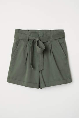 H&M Paper-bag Shorts - Green
