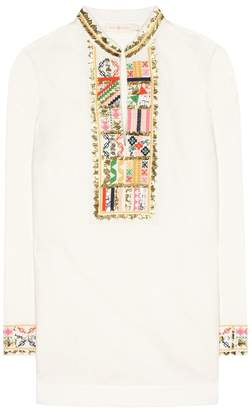 Tory Burch Tory embroidered linen and cotton tunic