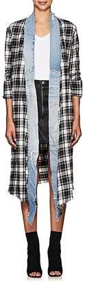 Greg Lauren Women's Plaid Flannel & Denim Long Kimono
