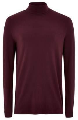 Topman Mens Red Burgundy Roll Neck T-Shirt