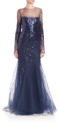 Monique Lhuillier Long-Sleeve Illusion Gown $6,495 thestylecure.com