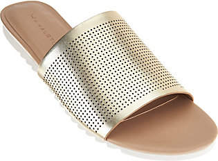 Halston H by Open-Toe Perforated LeatherSlides - Bailey