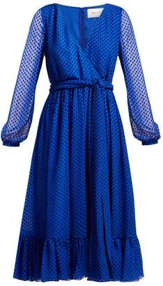Valentino Polka Dot Silk Blend Dress - Womens - Blue Print