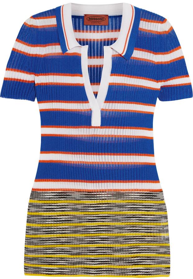 MissoniMissoni Striped crochet-knit polo shirt