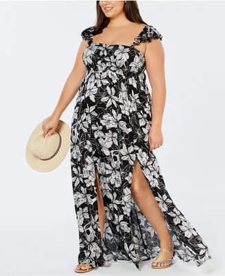 Raviya Plus Size Printed Maxi Dress Cover-Up