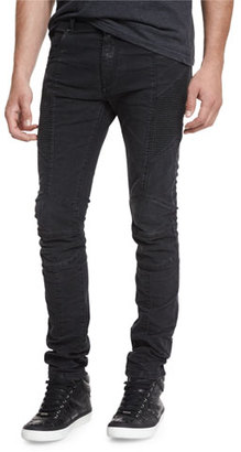Pierre Balmain Skinny-Fit Biker Denim Jeans, Black $775 thestylecure.com