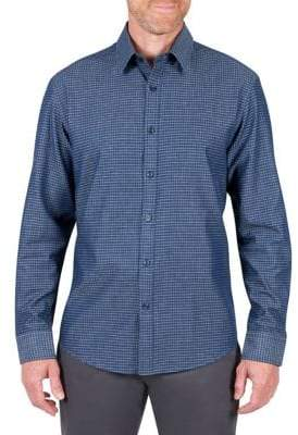 Haggar Heritage Regular Fit Denim Grid Sport Shirt