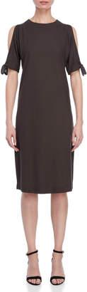 Lamberto Losani Cold Shoulder Tie-Sleeve Shift Dress