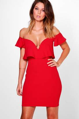 boohoo Sara Off Shoulder Frill Plunge Bodycon Dress $42 thestylecure.com