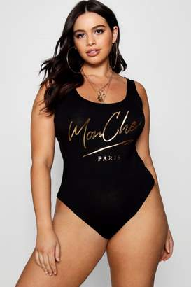boohoo Plus Cheri Foil Bodysuit