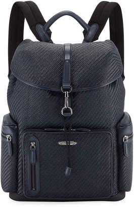 Ermenegildo Zegna Men's Pelle Tessuta Flap-Top Backpack