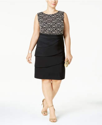 Connected Plus Size Tiered Sequined Sheath Dress