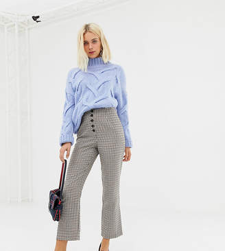 Miss Selfridge kickflare crop trousers in check